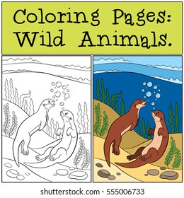 Otter Coloring Pages Stock Vectors Images Vector Art Shutterstock