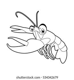 coloring pattern page. Funny cute cartoon sea animals. Lobster