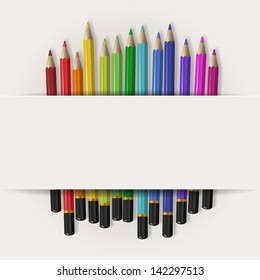 Coloring pencils with copy space, eps10 vector
