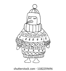 Coloring penguin without color in winter christmas pullover and cap. Ornamental sweater on a pinguin. Coloring character.