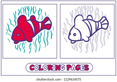 A coloring picture with a fish - a parrot. Character for destkogo creativity. Black-and-white drawing from lines for coloring by paints. On a blue background of algae. Vector illustration.