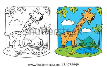 Coloring Picture Giraffe On Green Lawn Stock Vector (Royalty Free ...