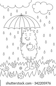 Coloring picture with hedgehog under umbrella