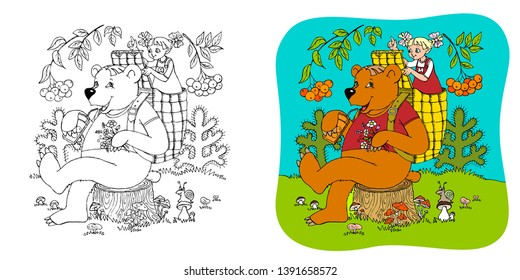 coloring picture of Russian folk tale Masha and the bear for children