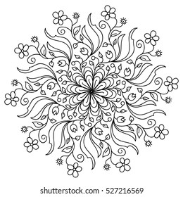 coloring, round pattern, relaxation coloring, can be used for decoration of dishes, clothes, Decor for your design, lace ornament, Oriental style, floral black pattern, isolated on white background.