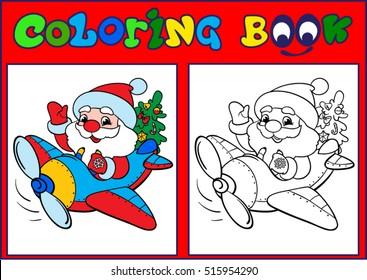 Coloring, Santa on a plane. Cartoon Vector Illustration.