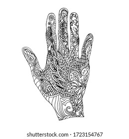 Coloring in the shape of a hand with an abstract ornament. Paints for children and adults. Prints on the body. Henna tattoo, mehendi
