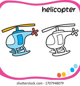 Coloring sheet for kids -  cartoon character - coloring helicopter