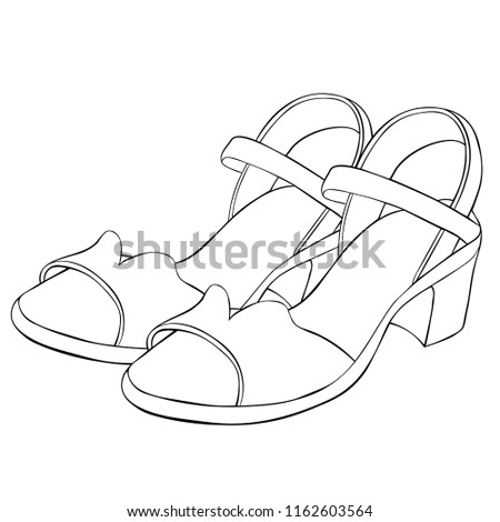 Coloring Shoes Summer Womens Sandals Vector Stock Vector (Royalty ...