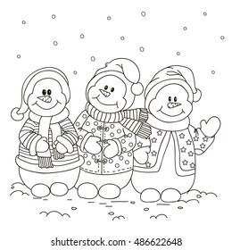 Coloring. Three snowman.