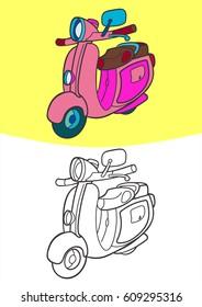 Coloring Vehicle For Children. Transportation Illustration for kids. motorcycle vector