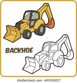 coloring vehicle. coloring transportation for children.cartoon illustration. backhoe