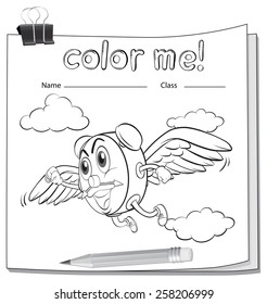 Coloring worksheet with a clock and a pencil on a white background