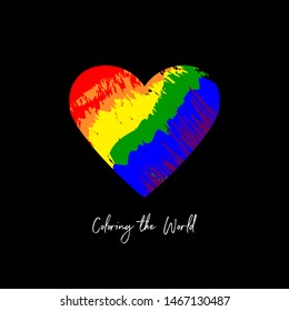 coloring the world text. vector heart shape with grunge style color spots on black background. love concept. simple print design for t shirt, banner, poster, invitation, flyer, placard. lgbt community