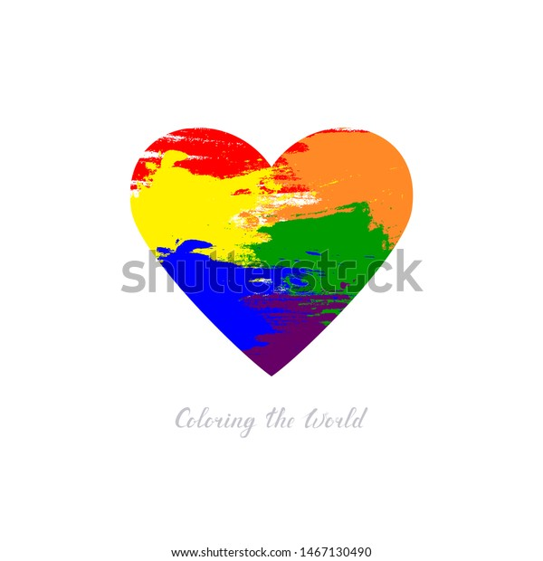 Coloring World Text Vector Heart Shape Stock Vector Royalty Free 1467130490