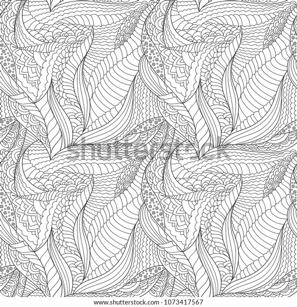 Coloring Zentangle Art Outline Doodles Pattern Stock Vector