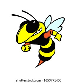 Colorized Stylized Vector Image Of A Wasp
