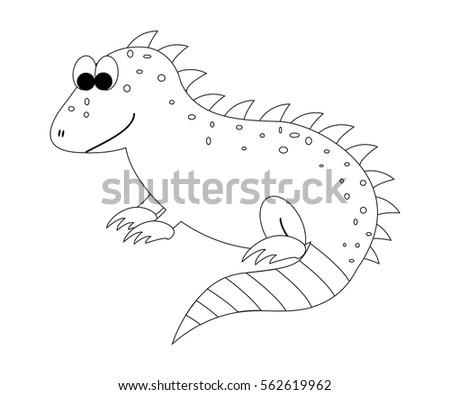 Colorless Cartoon Iguana Coloring Page Preschool Stock Vector