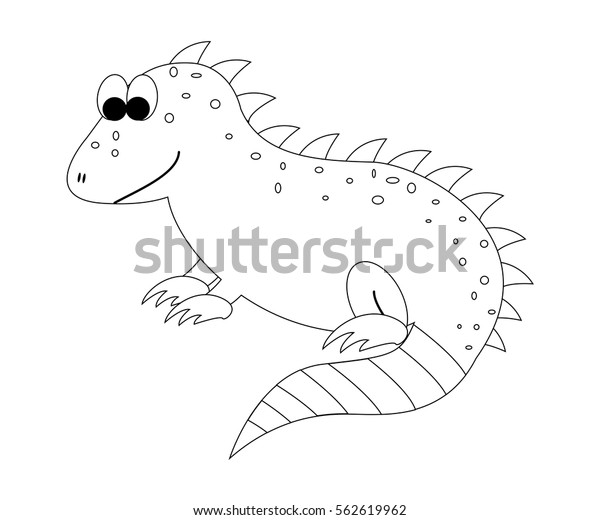 Colorless Cartoon Iguana Coloring Page Preschool Stock