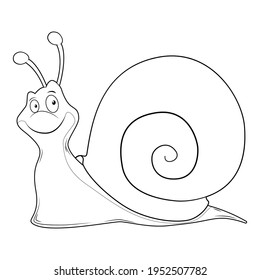Colorless cartoon Snail or Slug. Coloring pages. Template page for coloring book of funny Shellfish for kids. Practice worksheet or Anti-stress page for child. Cute outline education game.Vector EPS10
