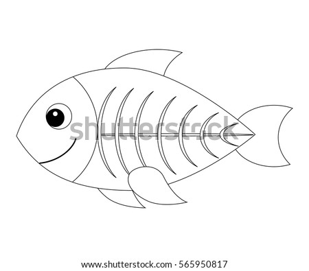 Colorless Cartoon Xray Fish Coloring Page Stock Vector Royalty Free