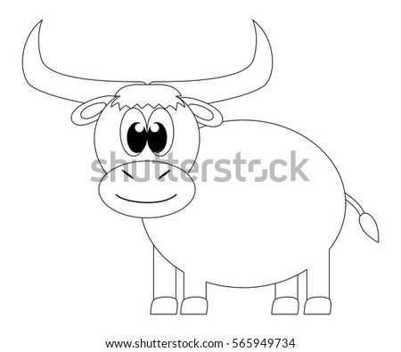 Colorless Cartoon Yak Coloring Page For Preschool Children
