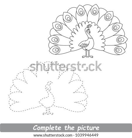 Colorless Drawing Worksheet Preschool Kids Easy Stock Vector