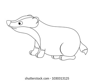 Colorless funny cartoon badger.  Forest animals. Vector illustration. Coloring page. Preschool education.