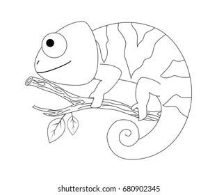 Colorless  funny cartoon chameleon. Vector illustration. Coloring page. Preschool education.