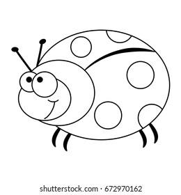 colorless funny cartoon ladybug vector 260nw