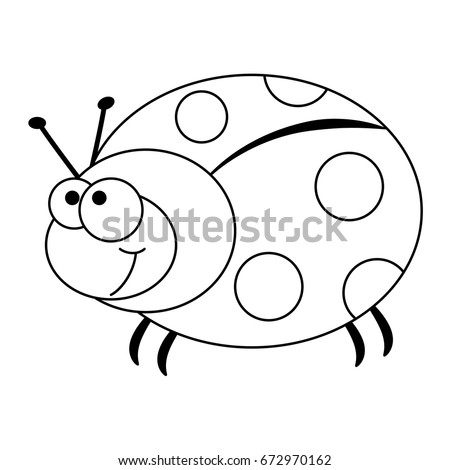 Colorless Funny Cartoon Ladybug Vector Illustration Stock Vector