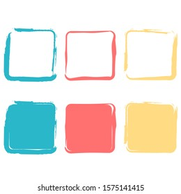 Colors brush square collection vector