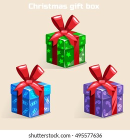 Colors Christmas gift box in vector object