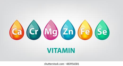 Colors drop of vitamins elements set vector illustration