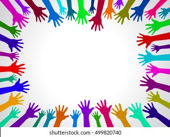 Colors hands up background, concept of cooperation and reach poster, card ready for your design.