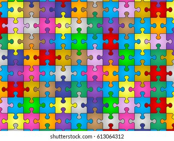 Colors jigsaw puzzle pieces pattern background.