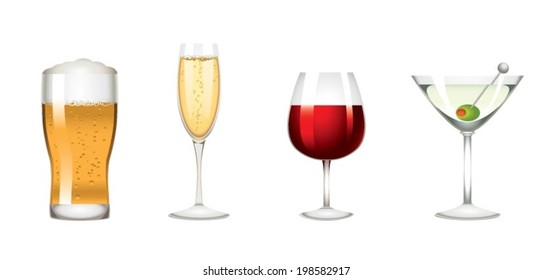 Colors low alcohol drinks icon