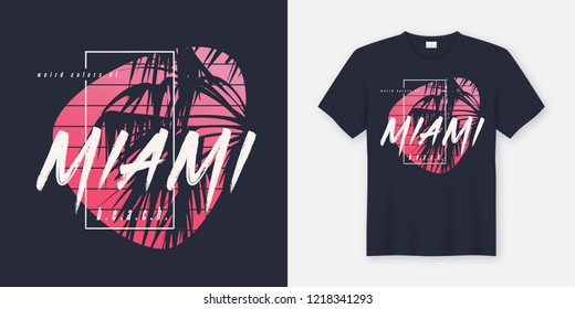 57f2a4dc Colors of Miami beach graphic tee vector design with palm tree silhouette.  Global swatches.