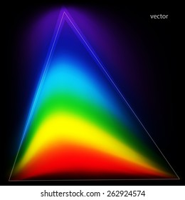 Colors of the rainbow in a triangular shape. Abstract background. Vector illustration