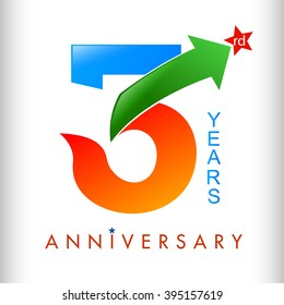 Colors tamplate 3rd anniversary years vector illustrator.celebration logo color number design