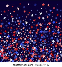 Colors of USA flag background, blue and red stars falling. American President Day background for card, banner, poster or flyer. Holiday star dust pattern in red, white, blue. USA symbols scatter.