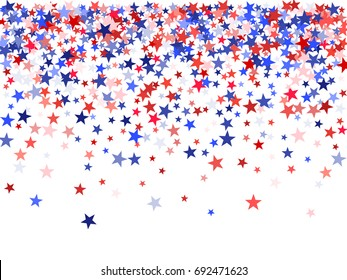 Colors of USA flag background, blue and red stars falling down on white. American Patriot Day, Independence or President Day backdrop for card, banner, poster. 4th of July holiday stardust pattern.