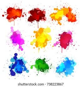 Colors watercolor paint stains vector set. Vector illustration