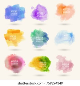 Colors watercolor paint stains vector backgrounds set