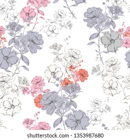 Colorul Seamless pattern vector dark blooming hand drawn pencil line skecth design for fashion,fabric,web,card,wallpaper and all prints on white background