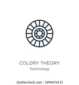 Colory theory icon. Thin linear colory theory outline icon isolated on white background from technology collection. Line vector sign, symbol for web and mobile
