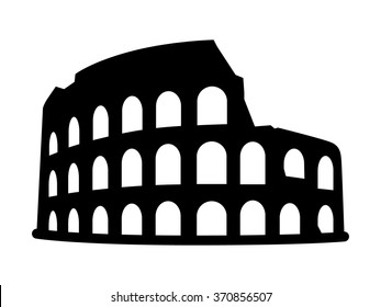Colosseum / Coliseum amphitheater in Rome, Italy flat vector icon for travel apps and websites