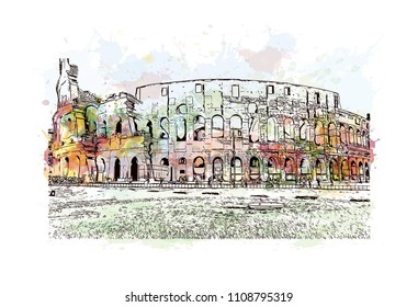 The Colosseum or Coliseum, also known as the Flavian Amphitheater, is an oval amphitheater in the center of the city of Rome, Italy. Watercolor splash with hand drawn sketch illustration in vector.