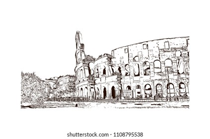 The Colosseum or Coliseum, also known as the Flavian Amphitheater, is an oval amphitheater in the center of the city of Rome, Italy. Hand drawn sketch illustration in vector.