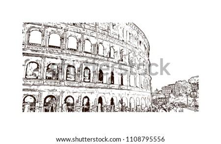Colosseum Coliseum Known Flavian Amphitheater Oval เวกเตอร์ส